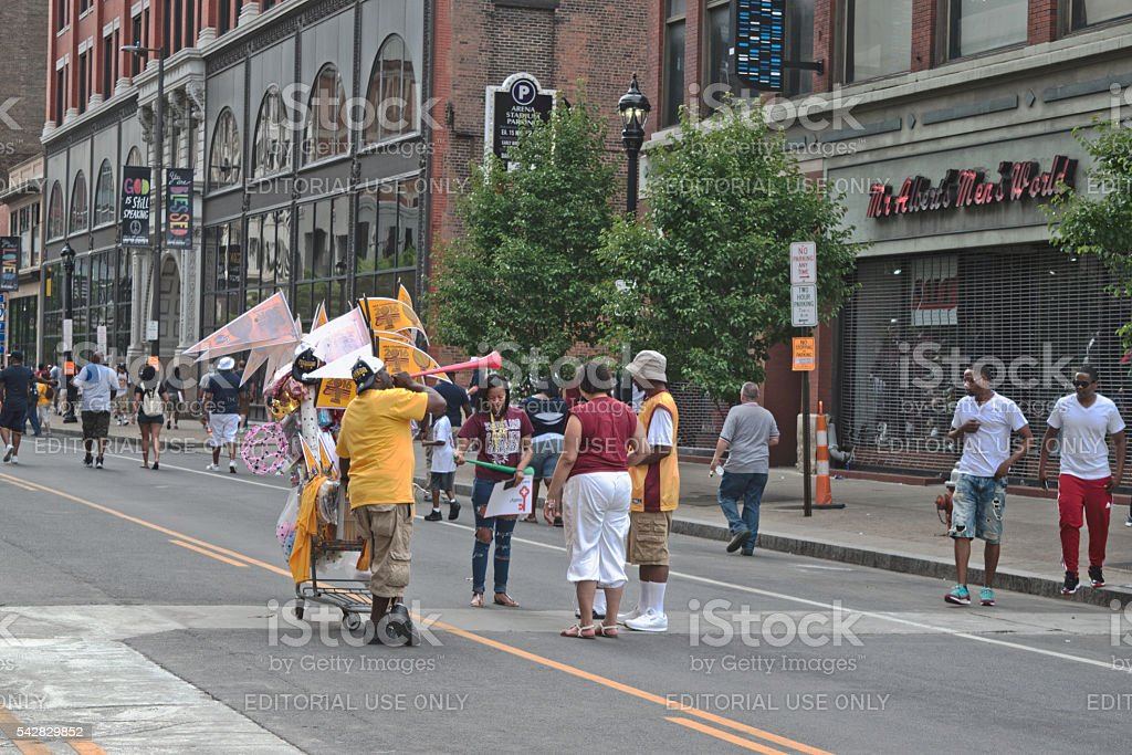 a63f636ef0afa Street Vendor Selling Cleveland Cavaliers Merchandise royalty-free stock  photo