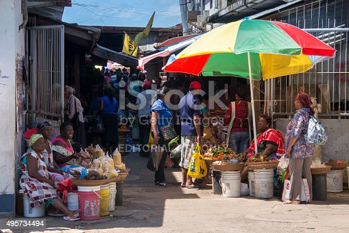 Paramaribo, Surinam - August 22, 2015: Street vendors and shoppers at the main market in Paramaribo, Surinam.