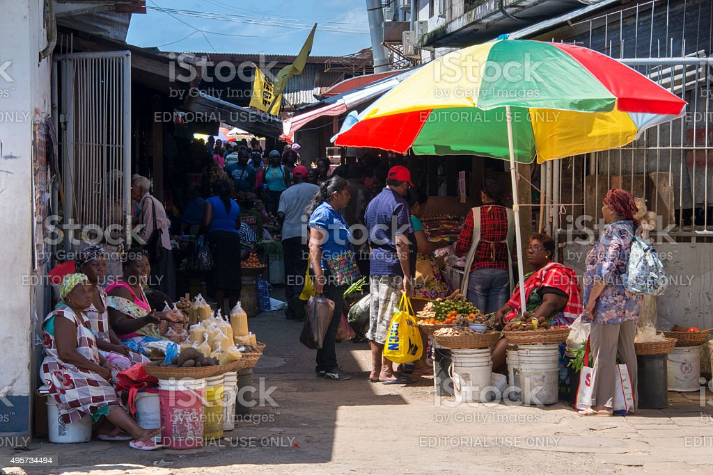 Street vendors and shoppers at the main market in Paramaribo stock photo