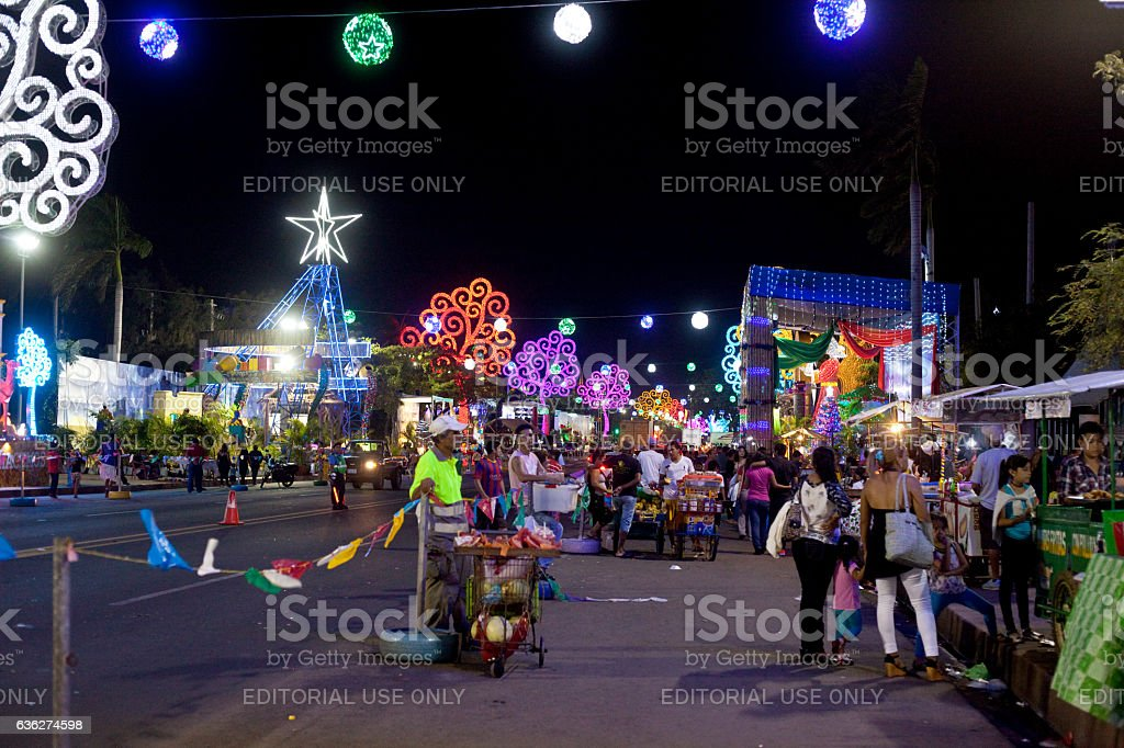 Street Vendors in Managua at Christmas stock photo