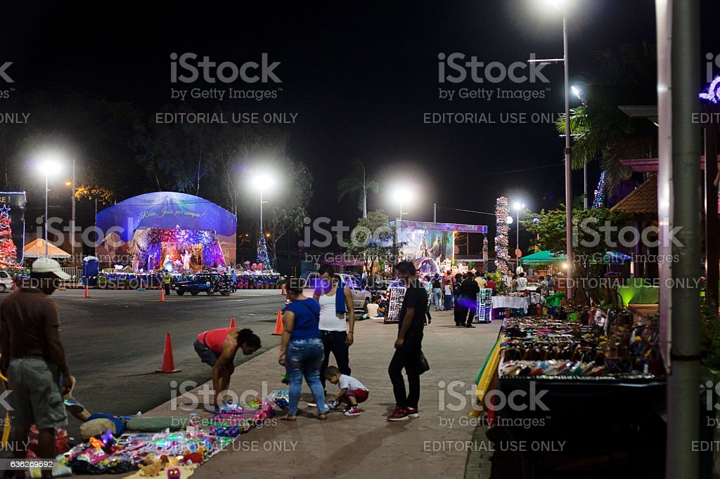 Street Vendors in Nicaragua at Christmas stock photo