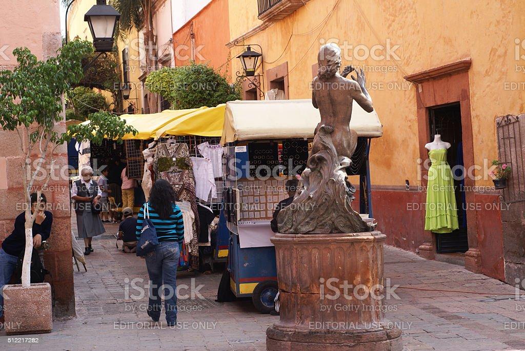 Street vendors in Santiago de Queretaro, Mexico stock photo