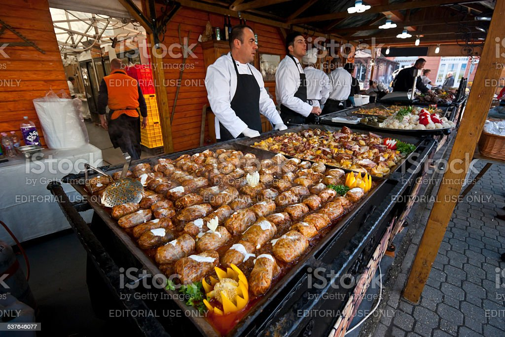 Street vendors selling traditional hungarian foods stock photo