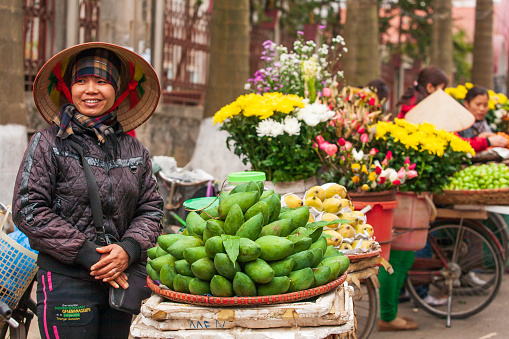 Street vendors with bicycles on the street at Vietnam-China border.