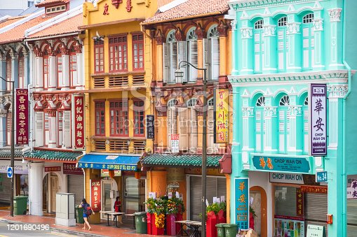 Singapore - 17 February, 2019 - Street view and architecture of Chinatown in Singapore