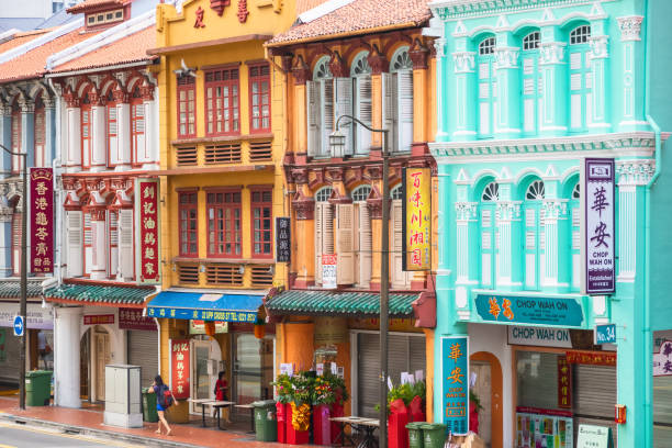 Street view and architecture of Chinatown in Outram, Singapore stock photo