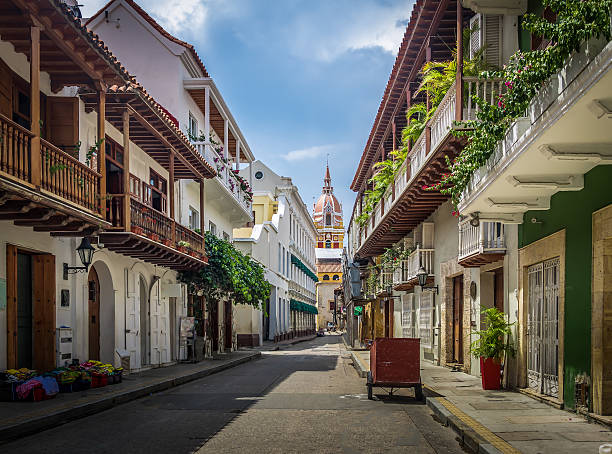 street view and cathedral - cartagena de indias, colombia - colombia stock photos and pictures