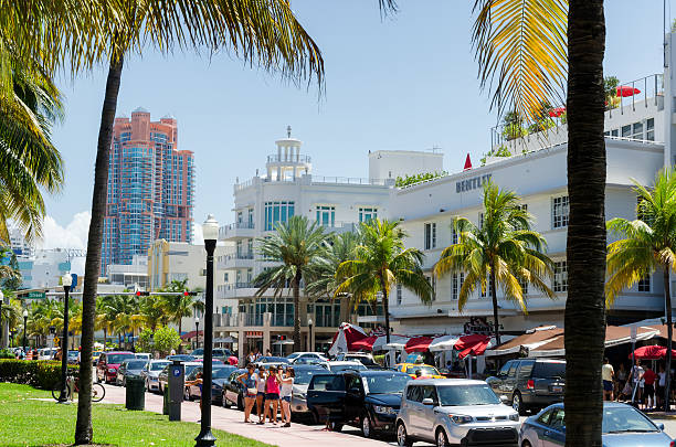 Street view at ocean dr in South Miami in daylight stock photo