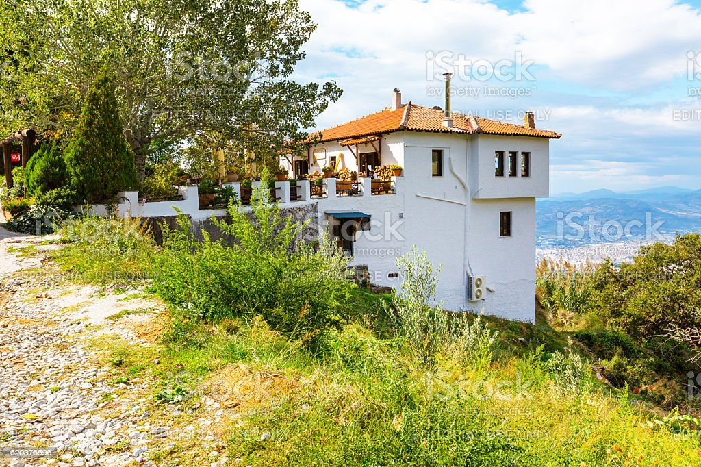Street view at Portaria, village in Pelion, Greece foto de stock royalty-free