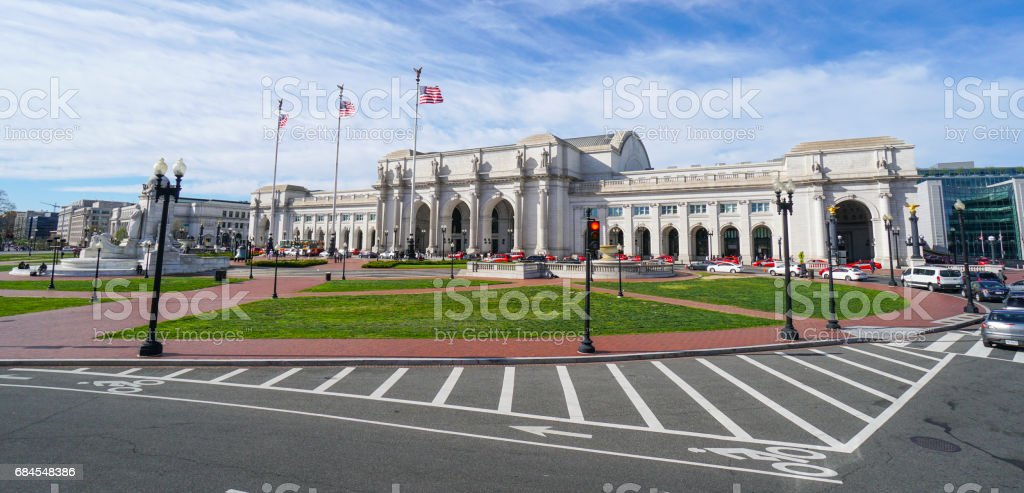 Street view at Union Station in Washington - WASHINGTON DC - COLUMBIA - APRIL 7, 2017 stock photo