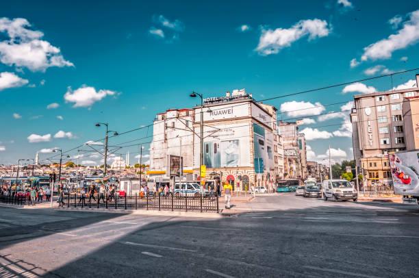 street view from karakoy district of beyoglu, istanbul - каракёй стамбул стоковые фото и изображения
