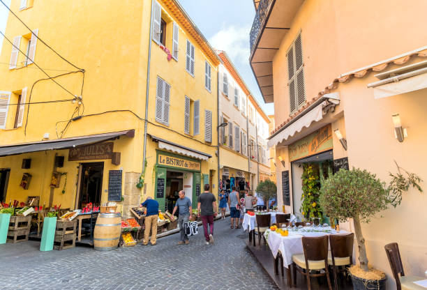 street view in Antibes old town, France stock photo