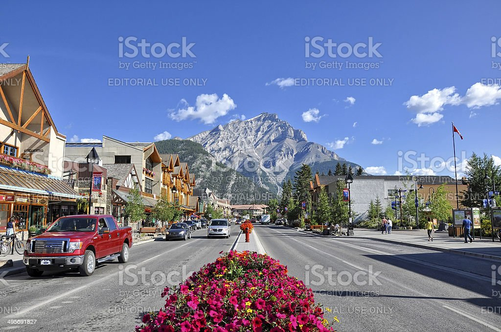 street view in Banff - Alberta, Canada stock photo