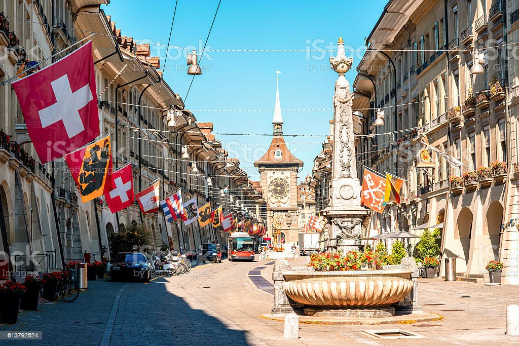 Street view in Bern city stock photo