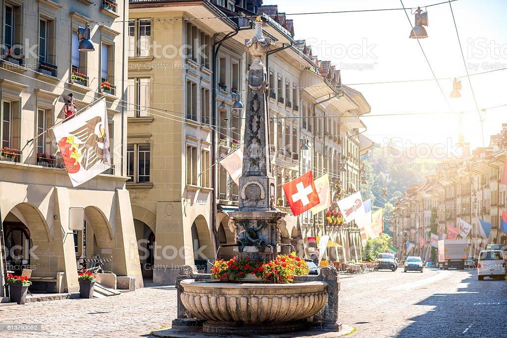 Street view in Bern city stock photo