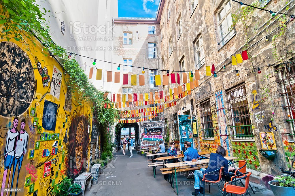 street view in Brunnenstrasse, Mitte district, Berlin stock photo
