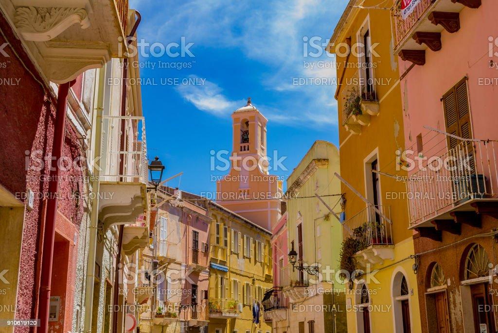 Street view in Carloforte (Island of San Pietro, Carbonia-Iglesias, Sardinia, Italy).
