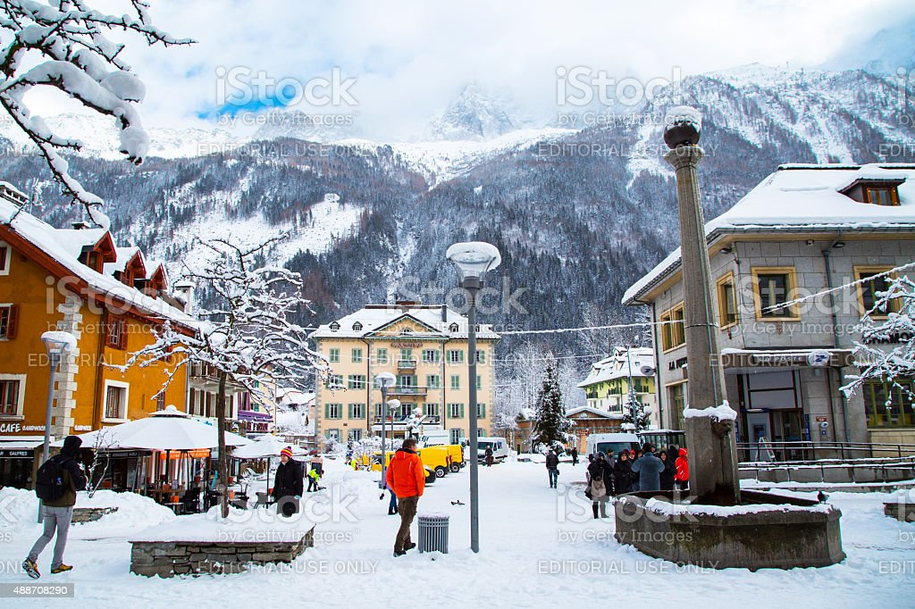 Street view in Chamonix town, French Alps, France stock photo