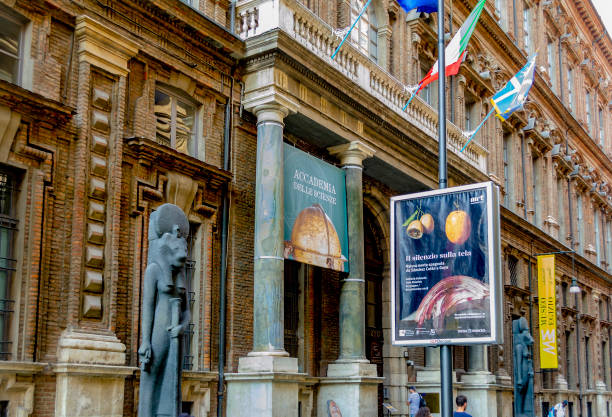 Street view in front of the Egyptian Museum ( Turin, Piedmont, Italy). stock photo
