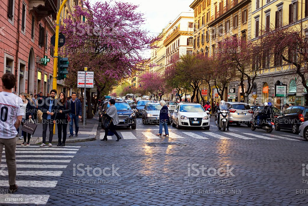 Street view in Rome, Italy. stock photo