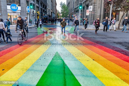 Santiago, Chile - October 12, 2018: Chilean citizens are walking on the multi-color street in the center of the city, Santiago. Chile.