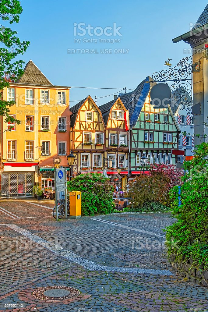Street view in the City center of Linz am Rhein stock photo