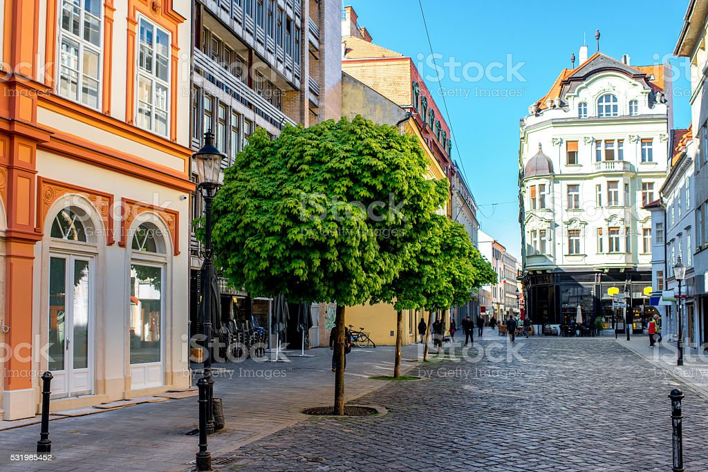 Street view in the old town of Bratislava stock photo