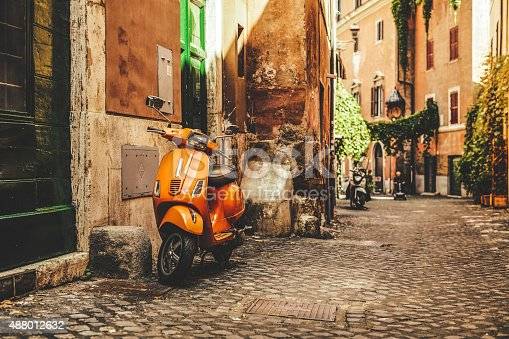 istock Street view in Trastevere, Rome's favorite neighborhood 488012632