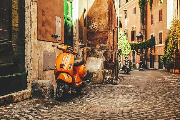 Street view in Trastevere, Rome's favorite neighborhood stock photo