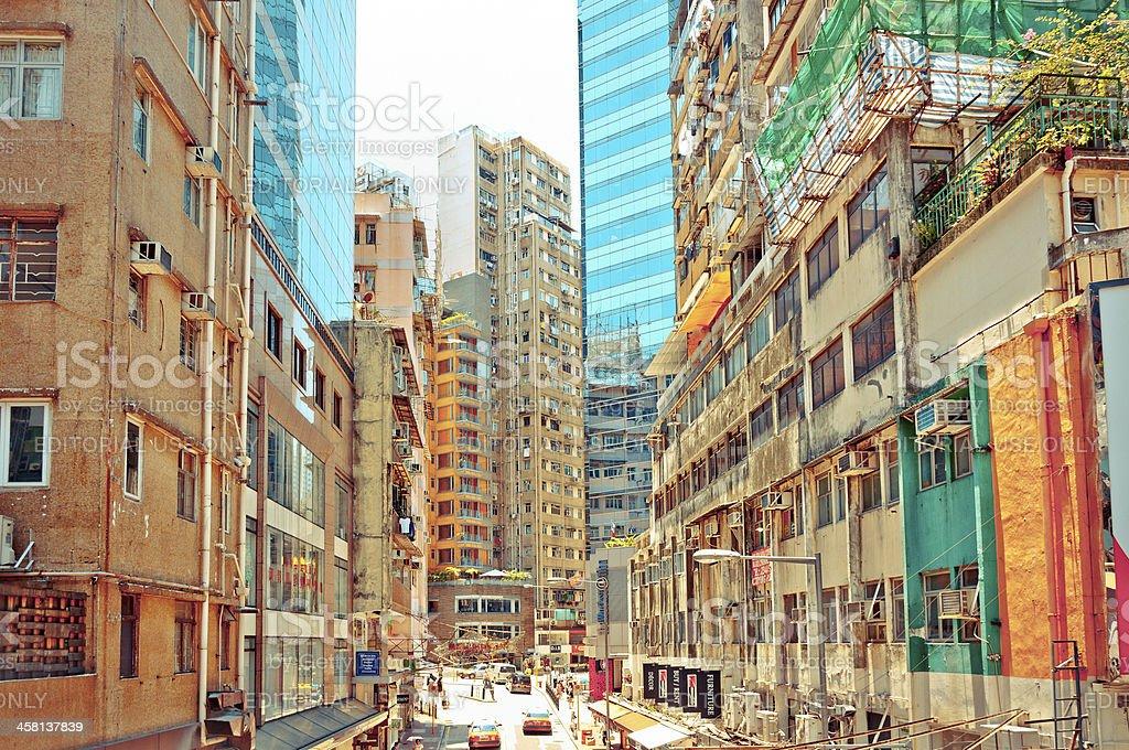 street view in Wan Chai, Hong Kong royalty-free stock photo