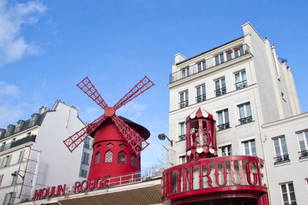 Street view Moulin Rouge stock photo