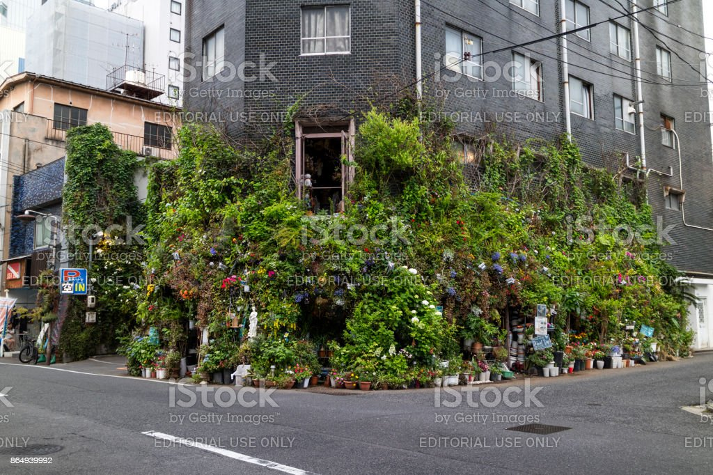 Street view of a corner of a street in Hiroshima with lots of green plants and flowers as decoration stock photo