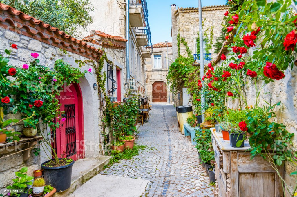 Street view of Alacati Town in the Turkey stock photo