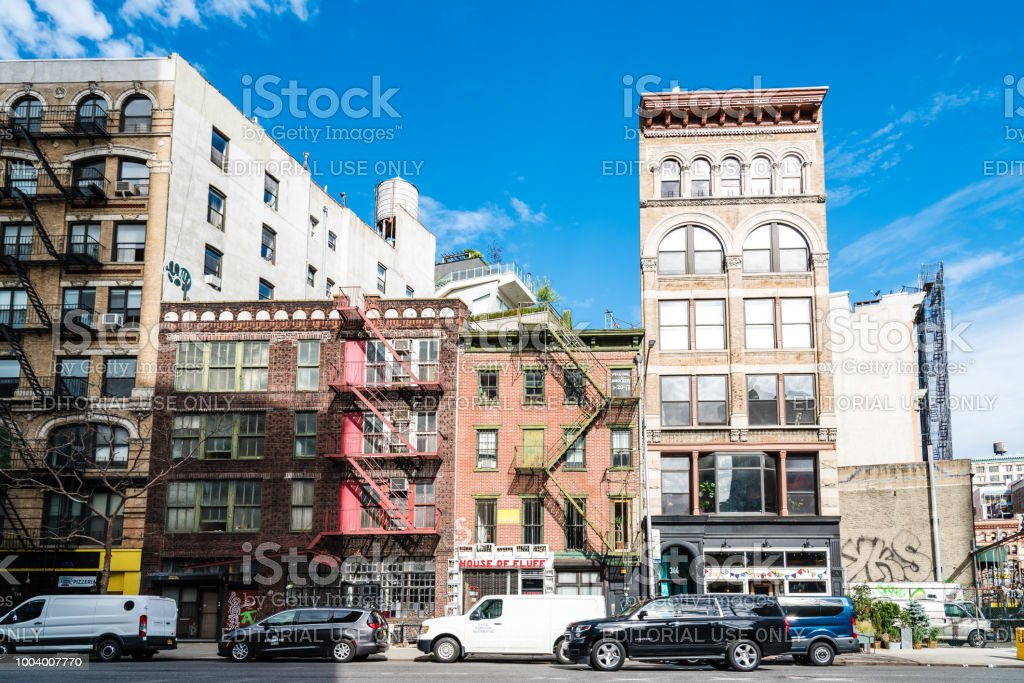 Street view of Bowery in East Village of New York City stock photo