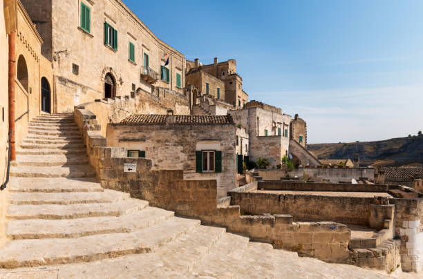 Street view of buildings in Matera ancient town Sassi di Matera. stock photo