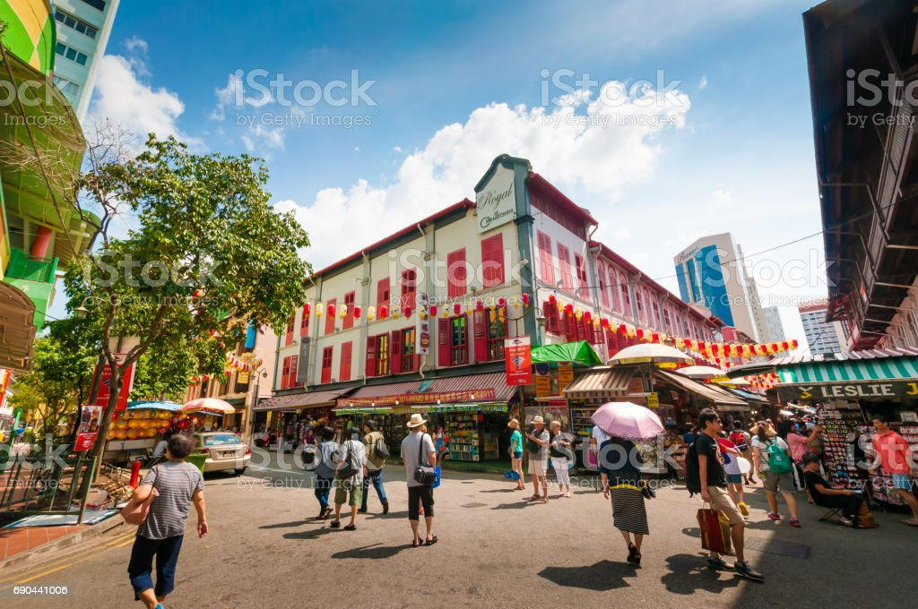 Street view of China town in Singapore stock photo