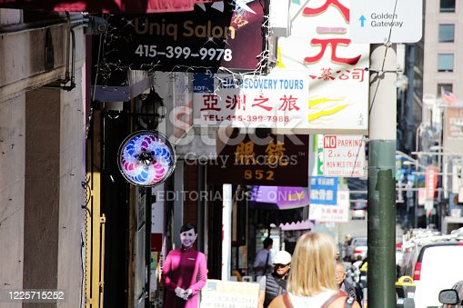 San Francisco, CA, USA - August, 11 2014: Street view of Chinatown, San Francisco.  Pedestrians were observed.