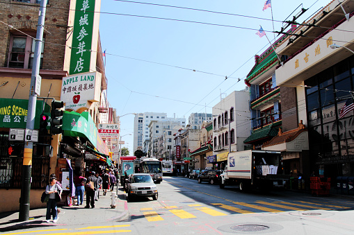 San Francisco, CA, USA - August, 11 2014: Street view of Chinatown, San Francisco.  Lots of pedestrians were observed.