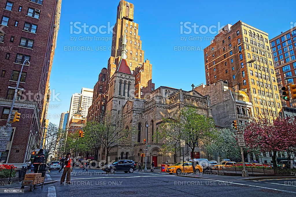 Street view of Church of Our Saviour in Manhattan stock photo