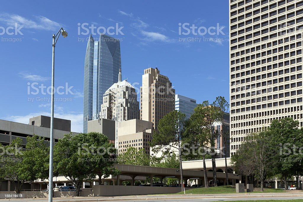 Street view of downtown Oklahoma City royalty-free stock photo
