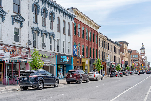 Street View Of Downtown Peterborough Ontario Canada Stock Photo - Download Image Now