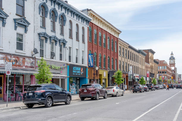 Street view of downtown Peterborough, Ontario, Canada. stock photo