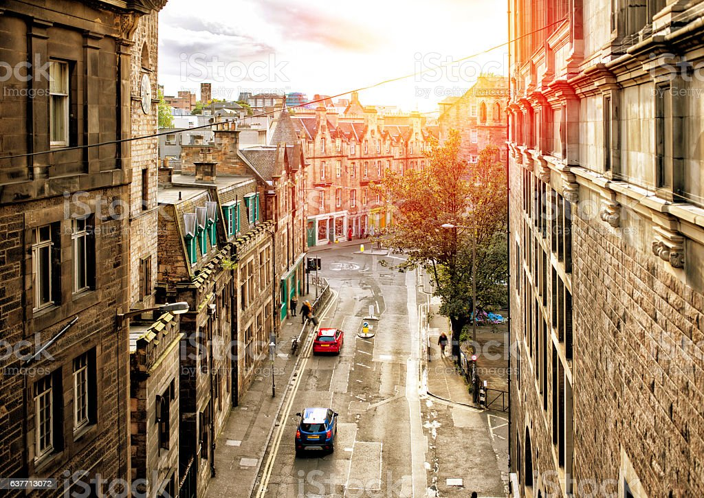 Street view of Edinburgh in sunset stock photo