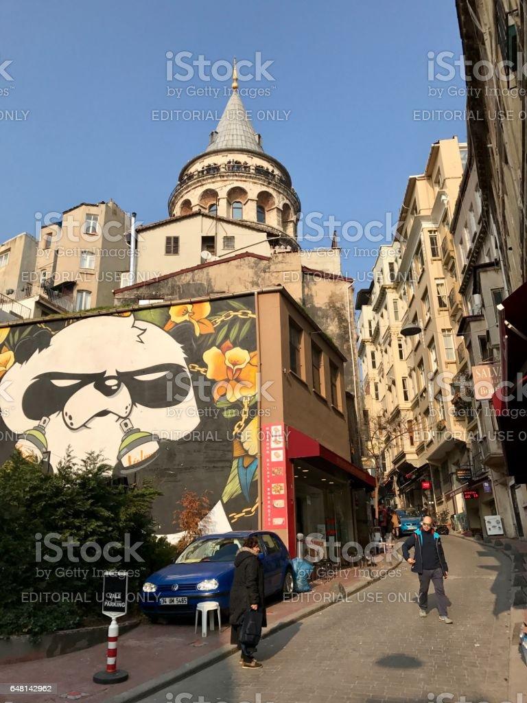 Street View of Galata Tower stock photo