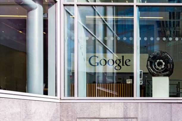 Street view of Google´s Dublin office reception with Google logo. stock photo