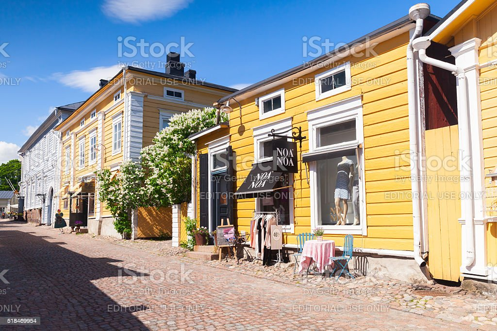 Street view of historical Finnish town Porvoo stock photo