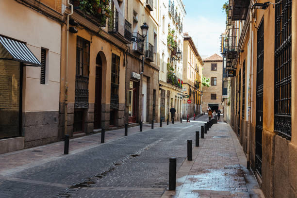 Street view of Las Letras or Literary Quarter in Madrid stock photo