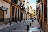 Street view of Las Letras or Literary Quarter in Madrid