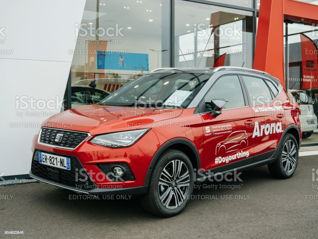 Street view of New Seat Arona SUV Brand by Volkswagen stock photo