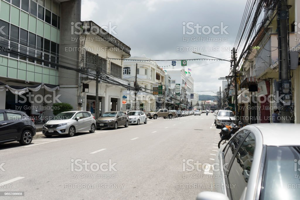 Street view of old Chino-Portuguese building in old town district of Phuket,Thailand zbiór zdjęć royalty-free